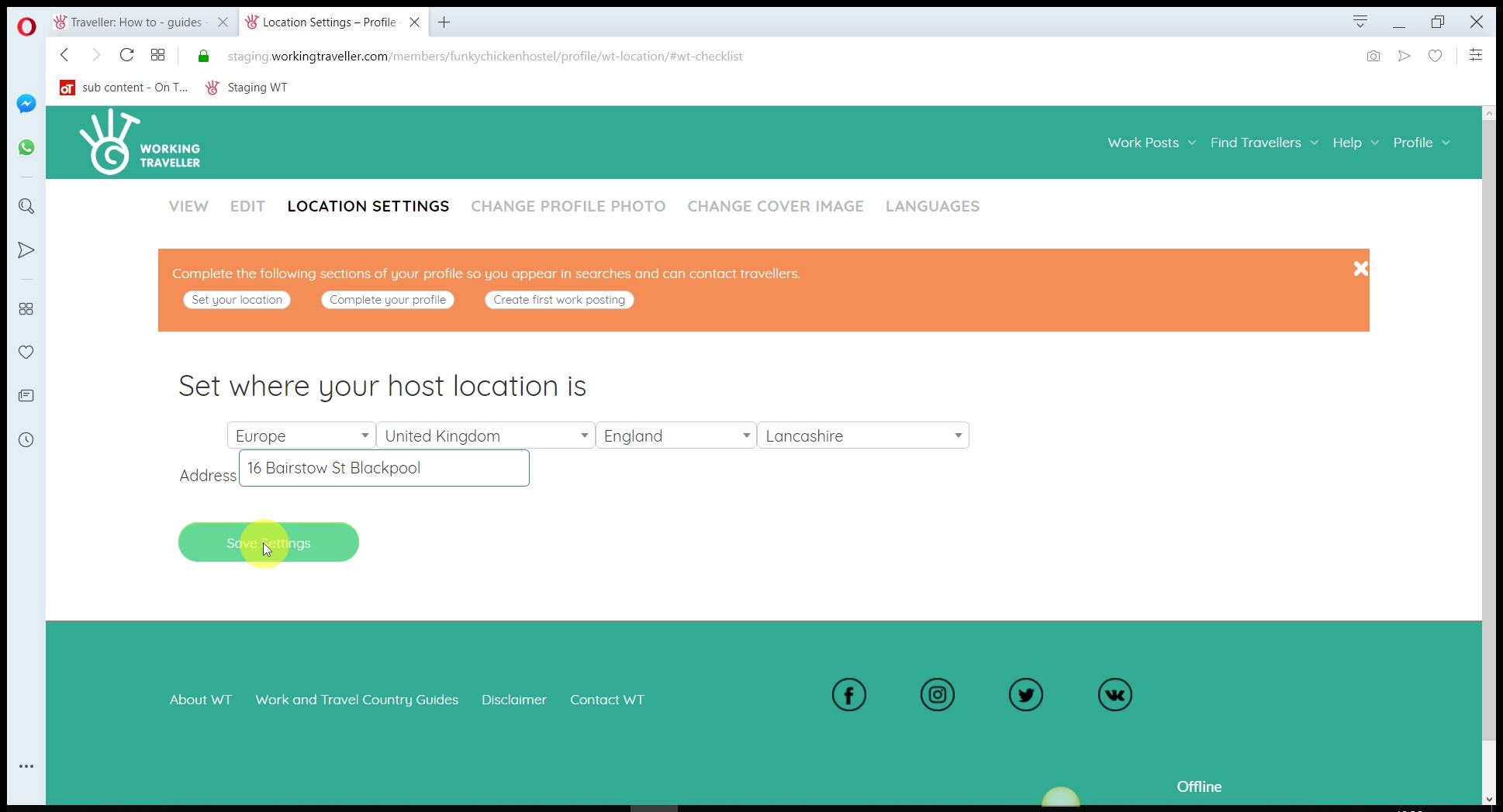 We need to know where you are So you are logged in the database in teh right place so when travellers search for work in your area they find you.