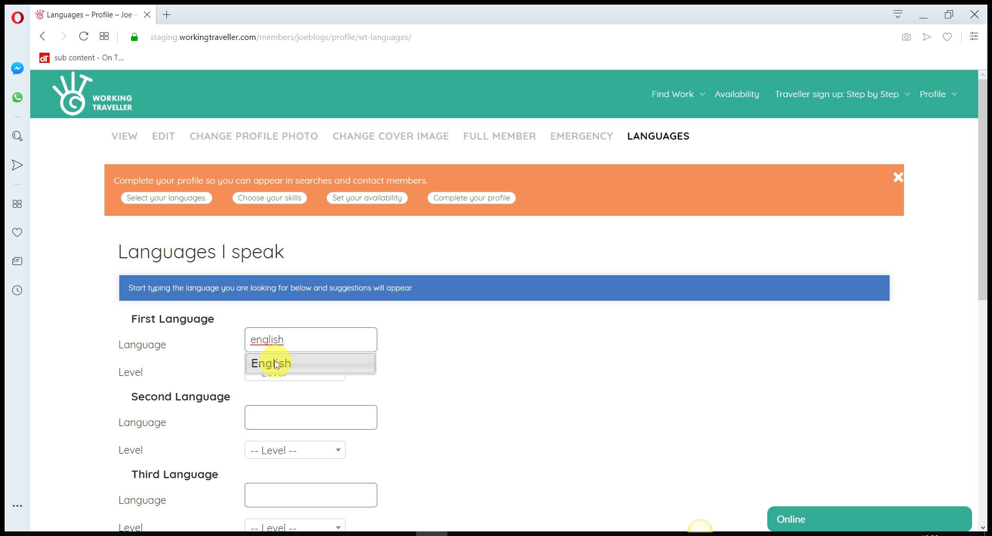 Select languages you speak Hosts can search by language so add all